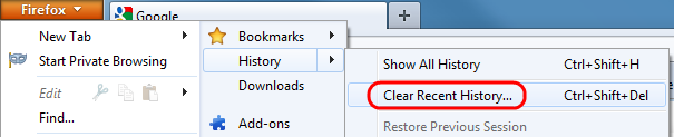 Click Firefox, History, then Clear Recent History.