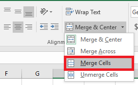 Merge in Excel 2016