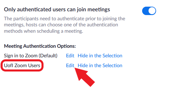 Zoom authentication profile options