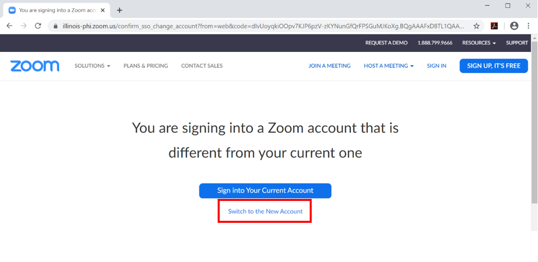 Zoom Switch Account Page