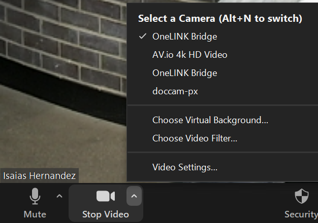 Zoom screen for Select Camera settings