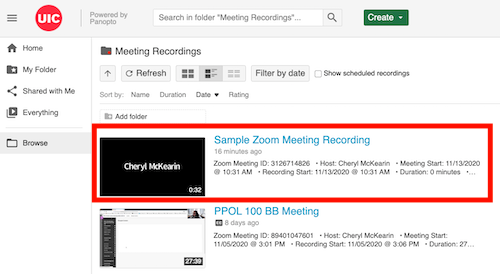 See Meeting Recordings