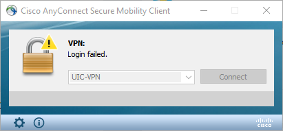 I am receiving a Login Failed error in AnyConnect, how do I fix this?