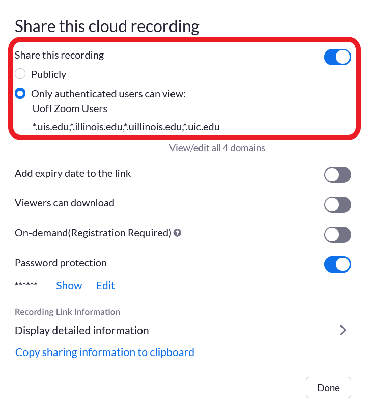 Screenshot showing the option to change who has access to view the recording