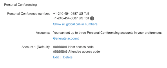 Example of Personal Conferencing Accounts