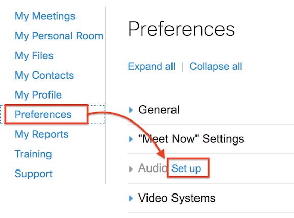 click Preferences, then audio setup