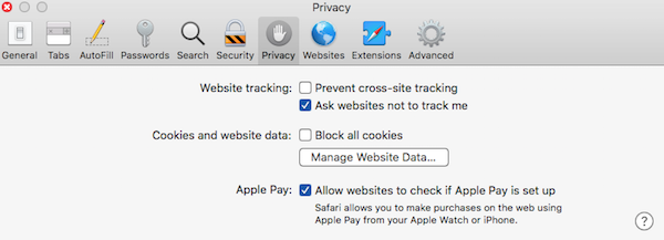 Safari preferences priacy tab screenshot