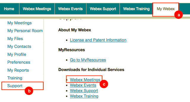 Click the links: My Webex>Support>Webex Meetings