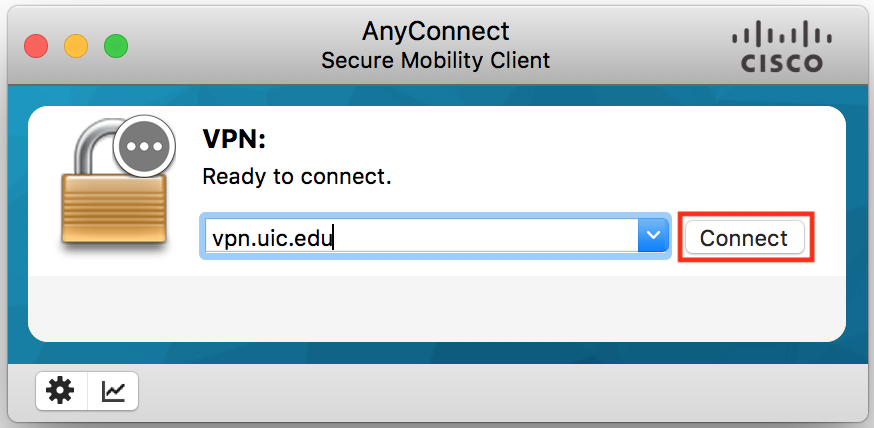 "Type vpn.uic.edu and click ""Connect"""