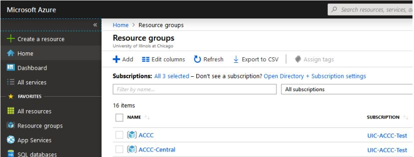 Show where resource groups are