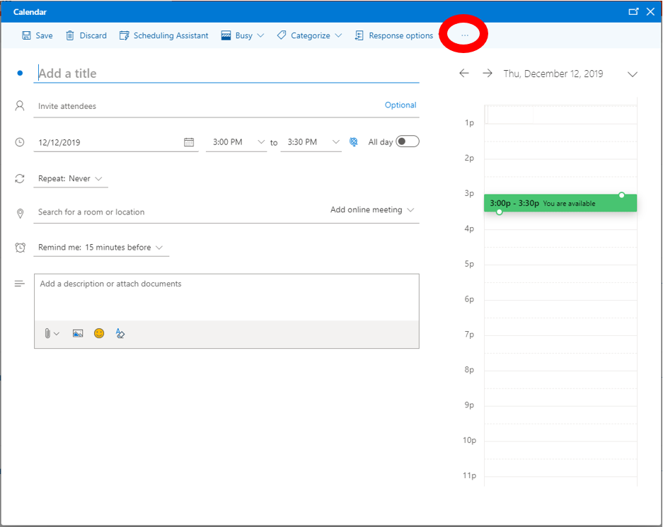 Outlook Web Application: Ellipsis highlighted