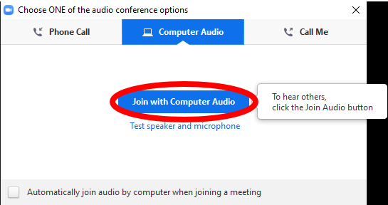 Join with Computer audio options screen