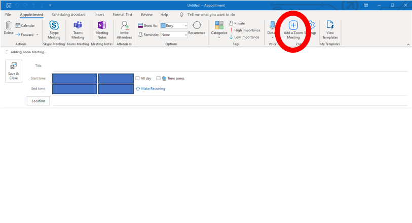 Outlook Desktop application: New appointment highlighted