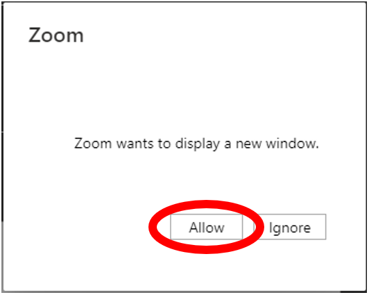 Allow access to Zoom Desktop Application