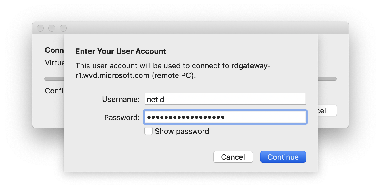 Enter your NetID and common password to authenticate to the virtual desktop.