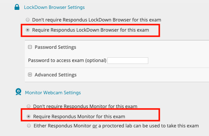 Click Lockdown and Monitor options