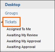 of the Tickets option on left navigation menu.