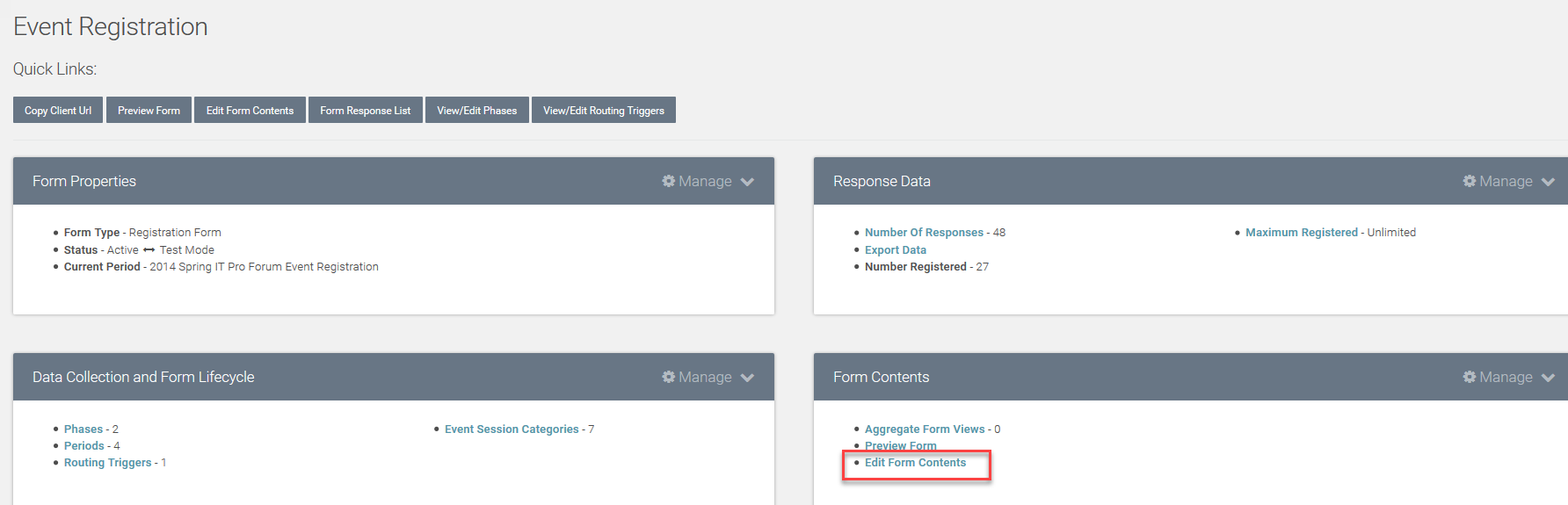 dashboard manage form contents