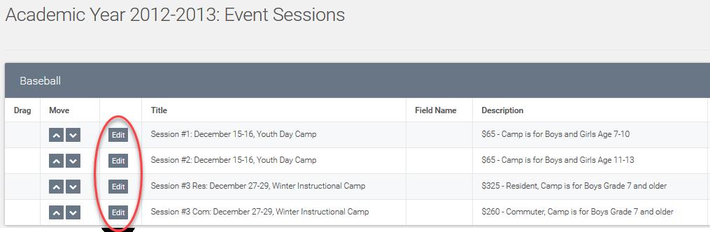 event session edit