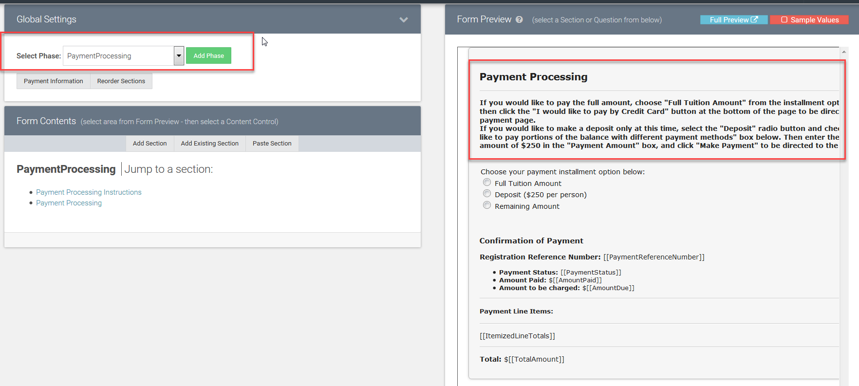 Payment Processing instructions