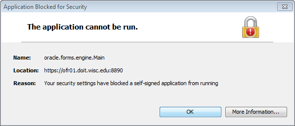 Application Blocked.  Application Blocked by Security Settings.  Your security settings have blocked a self-signed application from running.