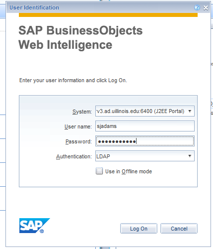 Use the Authentication of LDAP to log into Web Intelligence Rich Client
