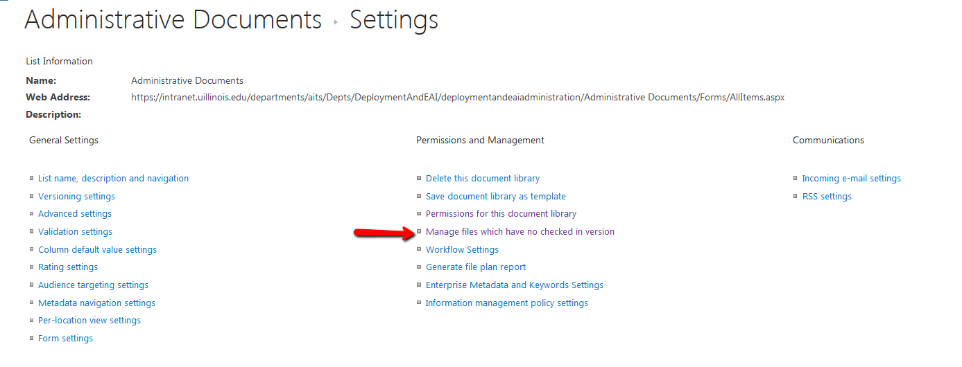 SharePoint Library Settings Page