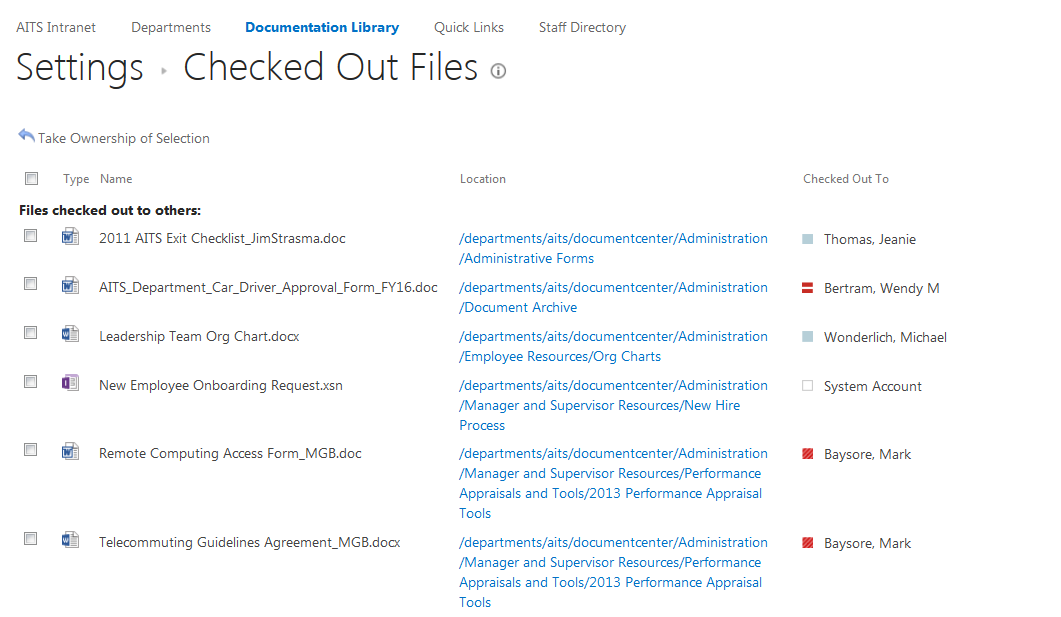 SharePoint Library Documents Checked Out page