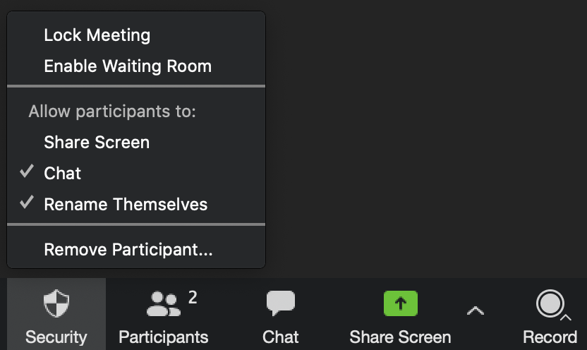 Zoom security menu with the security button highlighted.  The security button is located to the left of the participants button.