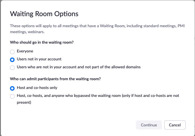 This image show how to configure your Zoom waiting room to allow UIUC Zoom account members the ability to bypass it.