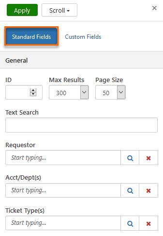 Screenshot of Filter Options.