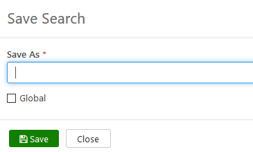 Screenshot of the Save Search window open.