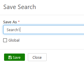 Screenshot of the Save Search with the Save As field.
