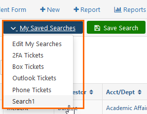 Screenshot of the My Saved Searches drop-down menu.
