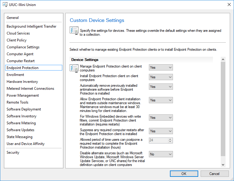Configure endpoint protection settings.