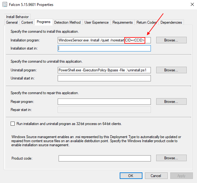 SCCM CrowdStrike Deployment Type Window