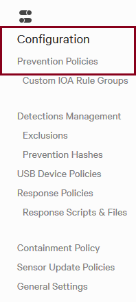 Sidebar showing how to access Prevention Policies
