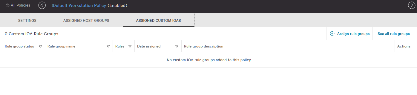 Example of Prevention Policy Assigned Custom IOAs