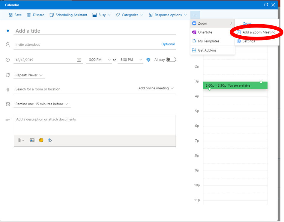 Outlook Web Application: New Zoom meeting highlighted