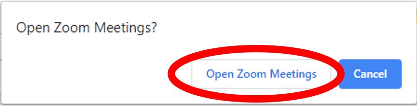 Open Zoom Meeting Pop up