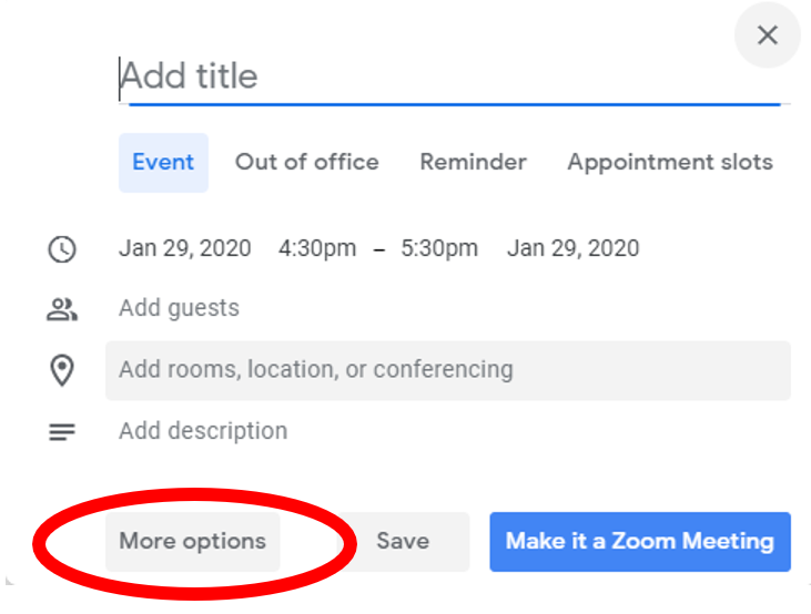 Google Calendar: more options highlighted