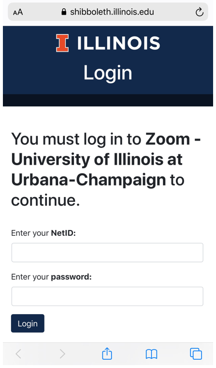 Normal University of Illinois login screen.  Enter your netid and password where prompted to do so.
