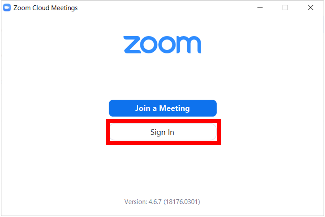 Zoom desktop application startup screen with Sign in button highlighted.  Sign in button is located below the Join meeting button.