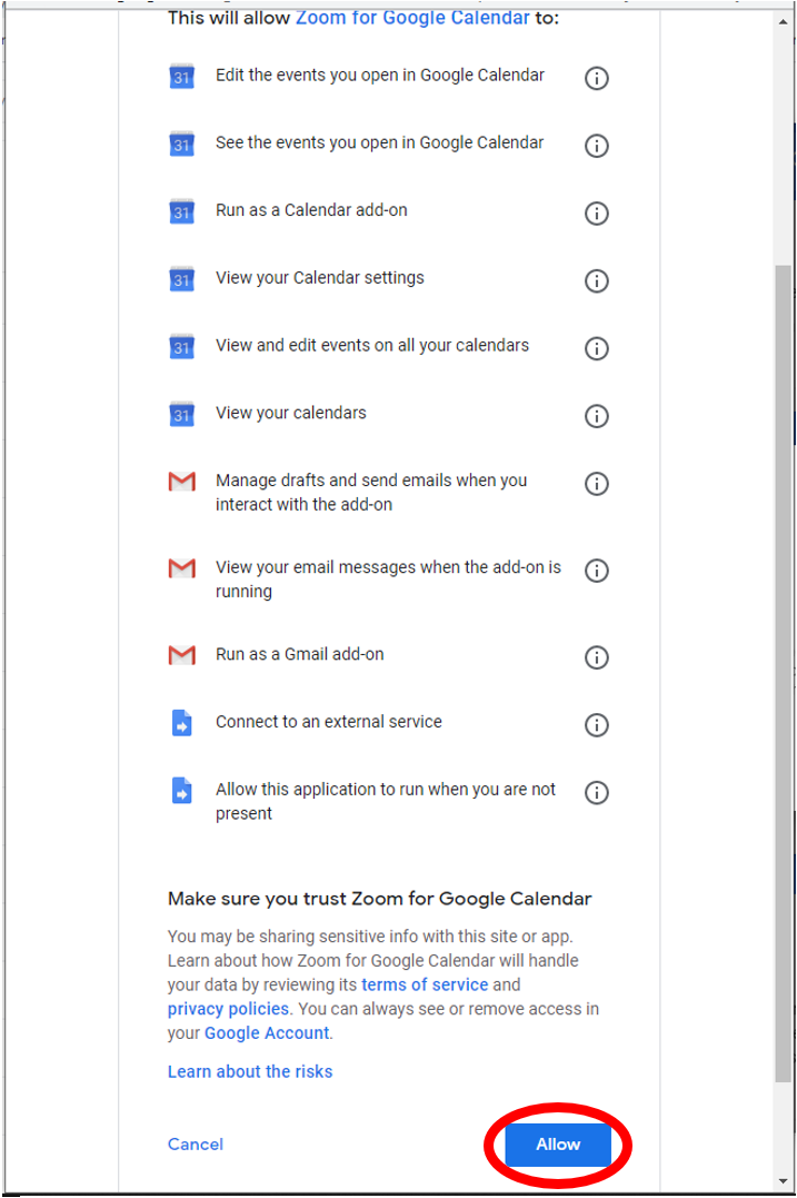 Zoom for G Suite permissions agreement.  Please read carefully.  Click agree in the lower right corner of the screen.