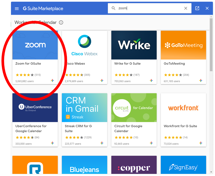 Zoom for Gsuite found after you searched for Zoom in the search bar in the upper right hand corner.  Click on the Zoom for Gsuite icon.