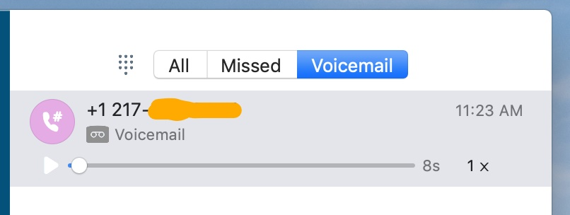 Skype for Business Mac voicemail screen