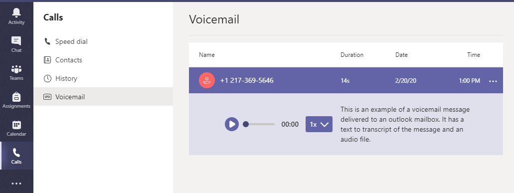 Teams Voicemail Example
