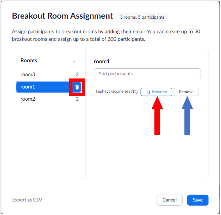 Breakout room pre-assignment using web portal