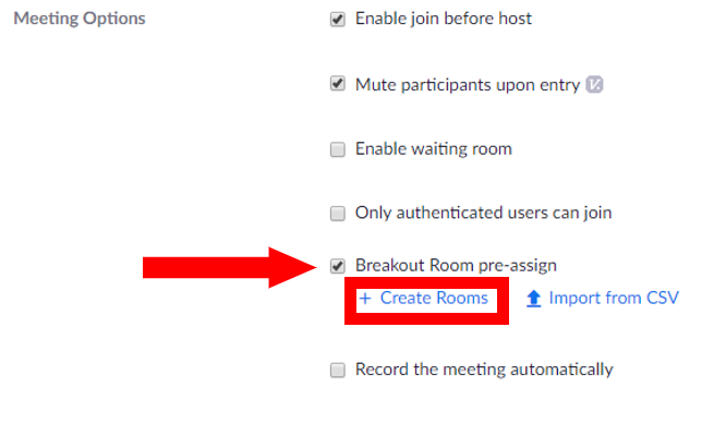 Meeting options with Breakout Room pre-assign checked.  Create rooms button located right below Breakout Room pre-assign is highlighted.