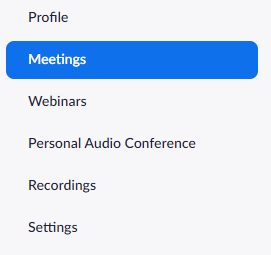 Zoom profile menu bar with meetings highlighted.